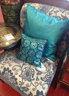 I love these turquoise throw pillows from Pier 1 Imports.