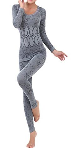LANBAOSI Women's Lace Stretch Seamless Top & Bottom Thermal Underwear Set Dark grey Size Free Size - Brought to you by Avarsha.com