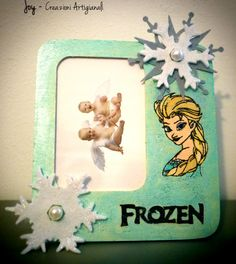 Picture frame Frozen or Masha and the bear pyrography wood burning opening desk stand or wall hanger included by JoyMadeInItaly on Etsy