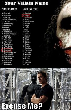 """Villain name generator = fail. My name was """"Captain Lord""""...>>>>>mine was """"The Dangerous Werewolf"""""""