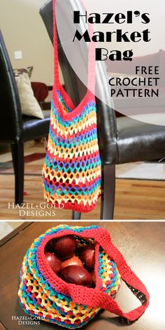 Hazel's Market Bag, free crochet pattern, Hazel + Gold Designs.