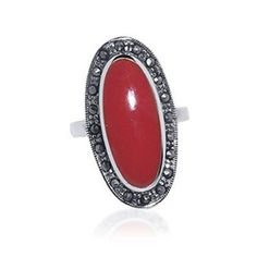 Nickel Free Sterling Silver Simulated Coral & #Marcasite #Ring  $36.99