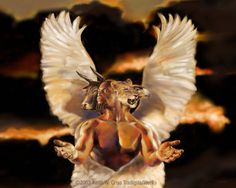 """Cherub - the """"four living creatures"""" in Ezekiel - """"As for the appearance of their faces: the four had the face of a human being, the face of a lion on the right side, the face of an ox on the left side, and the face of an eagle;"""" Later defined in Ezekiel Archangel Uriel, Religion, Identity In Christ, Prophetic Art, Biblical Art, Spiritual Warfare, Angels And Demons, Armor Of God, Christian Art"""