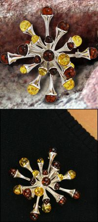 Sienna Starburst Amber & Sterling Pin-Pendant at The Rainforest Site