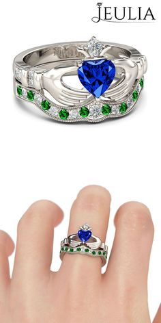 Heart Cut Sapphire with Emerald Sidestone Rhodium Plating Sterling Silver Claddagh Ring / Engagement Ring #jeulia