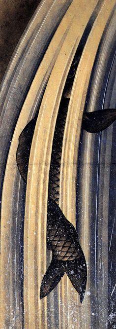 Carp leaping up a cascade by Katsushika Hokusai