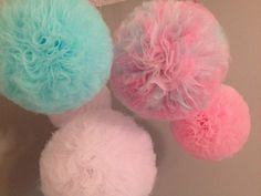Tulle pom poms for baby nurseries, birthday party, parties, (SET OF 6)weddings, graduations, bedrooms, or just a decoration to add pizazz