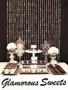 Black and white dessert table hotel party, holiday tab Deco Buffet, Dessert Buffet Table, Candy Table, Candy Buffet, Elegant Dessert Table, Lolly Buffet, Dessert Party, Party Candy, Party Sweets