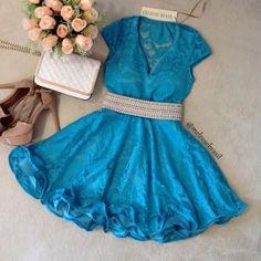 Vestido Boneca Camilla na Renda c/ Neoprene C/ BOJO ( COR AZUL)