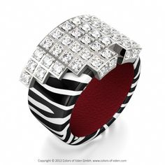 Diamond White Gold Leather Ring