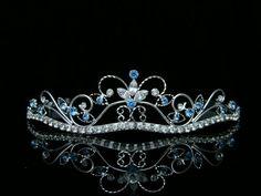 Rhinestone Crystal Flower Prom Bridal Wedding Crown Tiara - Light Blue Crystals Silver Plating