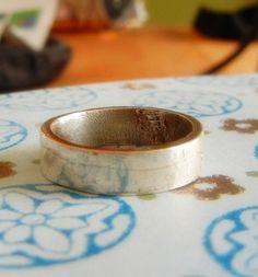 Mens Rustic Wedding Ring Mens Silver Wedding Band by HisHeartMyArt