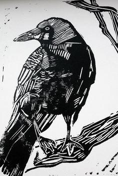 'Corvus' Lino Print - If you'd like to buy a print, please contact me.