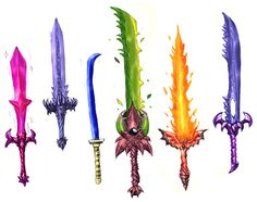 Terraria swords.I crafted the green sword in the middle.I don't remember it's name though...