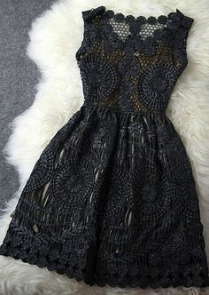 Hollow Out Embroidery Slim Dress