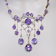Vintage Jewelry Exceptional Vintage Russian Amethyst Diamond Necklace, Moscow, The necklace is handcrafted in gilded silver and set with sparkling light lavender purple Siberian amethysts and diamonds. Purple Jewelry, Amethyst Jewelry, Amethyst Necklace, Diamond Pendant Necklace, Diamond Jewelry, Silver Jewelry, Jewelry Accessories, Fine Jewelry, Silver Rings