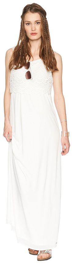 Maxi-Kleid mit Top aus Häkelspitze für Frauen (unifarben, ärmellos mit Rundhals-Ausschnitt) aus Chiffon mit unifarbenem Underlayer, eingefasstes Elastik-Band unterhalb der Brust. Material: 100 % Polyester...
