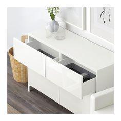 BESTÅ Storage combination w doors/drawers - white/Selsviken high-gloss/white, drawer runner, soft-closing, 120x40x74 cm - IKEA