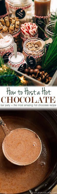 to Host a Hot Chocolate Bar Party + The Most Luxurious Hot Chocolate DIY Hot Chocolate Bar Party - Learn how to set up your own hot chocolate bar! Tons of printables, decorating ideas, and toppings! Plus, the most luxurious hot chocolate recipe! Noel Christmas, Christmas Desserts, Christmas Baking, Christmas Treats, Holiday Treats, Holiday Recipes, Christmas Chocolate, Christmas Drinks, Xmas