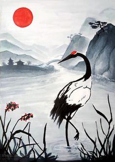 Art Japonais, Japanese Painting, Art Graphique, Japan Art, Acrylic Art, Bird Art, Chinese Art, Cool Drawings, Amazing Art