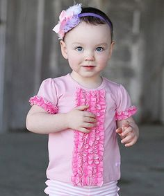 Love this RuffleButts Pink Ruffle Front Tee - Infant by RuffleButts on #zulily! #zulilyfinds