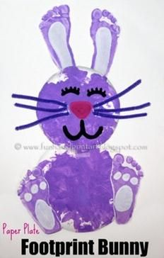10 Fun Easter Craft Ideas For Kids - 2 Wired 2 Tired  footprint bunny....could use BOTH their feet Daily update on my site: