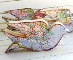Are You Gonna Go My Way? Creative Uses for Old Maps – Andrea Voigt-Schoenfeld Are You Gonna Go My Way? Creative Uses for Old Maps Dishfunctional Designs: Are You Gonna Go My Way? Creative Uses for Old Maps Map Crafts, Wood Crafts, Arts And Crafts, Bohemian Christmas, Decoupage, Craft Projects, Projects To Try, Wooden Bird, Wooden Toys