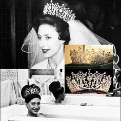 A daring, for the time, photo taken by Tony Armstrong-Jones, of his wife, Princess Margaret, wearing the Poltimore tiara in the bath.