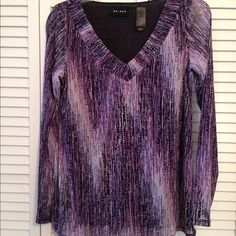 Axcess bunched V-neck blouse. Axcess bunched V-neck blouse. NWOT. Has intermittent speckled pattern (see pictures) of purple, pink, black, grey, & white. Blouse is sheer, but entire front is lined & not see-through. Blouse is nylon, & lining is polyester. Worn once. Axcess Tops Blouses