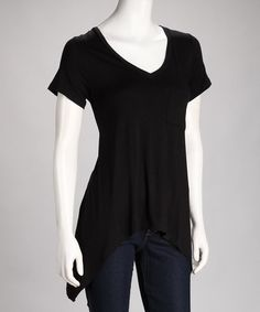 Take a look at this Black Lace Sidetail Top by To The Max: Dresses & Tops on #zulily today!
