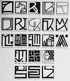 Austria. Monograms of artists and designers of the Vienna Secession, including Maximilian Lenz and Gustav Klimt, 1900s