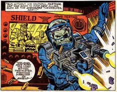 Nick Fury ~ Panel from Captain America #112 (April 1969), script by Stan Lee, pencils by Jack Kirby, inks by George Tuska, letters by Artie Simek