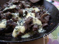 Iscas de alcatra com um punhado de gorgonzola (para a amiga Vânia Dias)