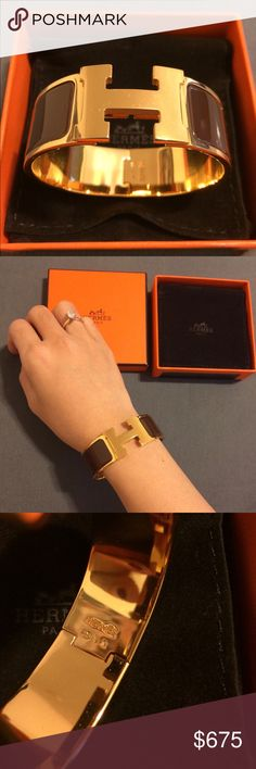NEW HERMES WIDE CLIC CLAC BRACELET PM Like new, used 2 times. Size PM. Brown Gold. Includes: box, dustbag. Hermes Jewelry Bracelets