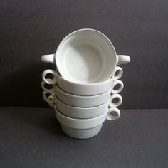 Bennington Potters White Soup Bowls 1765 David Gil Set of 5 - 10 available on Etsy, $100.00