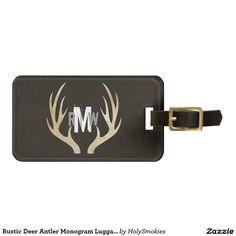 Rustic Deer Antler Monogram Luggage Tag   Grunge  #grunge  #zazzle  #zazzleluggagetags