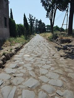 Via Appia ~ ancient Roman road near Capua (just think, Spartacus and his men may have traveled these very stones)