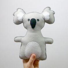 Koala Stuffed Animal Pattern // Hand sewn felt plushie by LittleHibouShoppe, $4.00