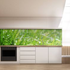 Küchenrückwand aus Glas Gras 989704222 Splashback, Gras, Modern, Blinds, Curtains, Kitchen, Home Decor, Kitchens, Decorating Kitchen