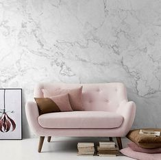 White Marble Removable Wallpaper, Stone Texture Wall Mural – Peel and Stick Wallpaper, Self Adhesive Marble Pattern Mural, Wall Murals # 9 Removable white marble-look wallpapers Sofa Design, Wall Design, Design 24, Design Ideas, House Design, Stone Texture Wall, Home Design Decor, Interior Design, Home Decor
