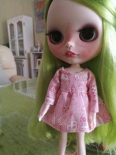 vestido para blythe doll dibujo casitas, blythe doll dress takara