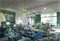Blue, Green & White Living Room -- Scott Snyder Inc. Interior Design & Architecture