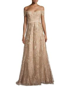 Off-the-Shoulder Embroidered Gown by Rene Ruiz at Neiman Marcus.