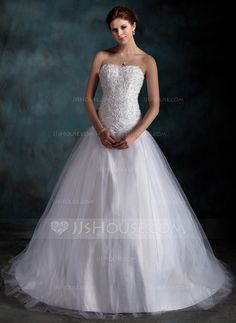 Wedding Dresses - $189.99 - Ball-Gown Sweetheart Court Train Taffeta Tulle Wedding Dress With Ruffle Lace Beading (002000160) http://jjshouse.com/Ball-Gown-Sweetheart-Court-Train-Taffeta-Tulle-Wedding-Dress-With-Ruffle-Lace-Beading-002000160-g160