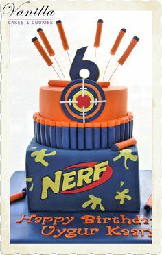 #nerfcake #cakesforboys Erkek çocuk pastası. Nerf Pasta. Nerf Cake. #erkekçocukpastası. Cakes for boys. Nerf dart gun cake. Birthday cake ideas for boys.