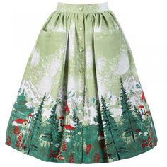 Adalene Green Alpine Print Skirt   Vintage Style Skirts - Lindy Bop
