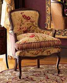 French country chair, used in Victorian English home interior design. Love the upholstery! Furniture, French Country House, French Country Decorating, Country Decor, Bergere Chair, French Furniture, Chair, Country Bedroom, French Country Chairs