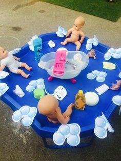 Nursery, preschool activities to help promote children'. Washing babies a Fall Preschool Activities, Nursery Activities, Activities For 2 Year Olds, Sensory Activities, Infant Activities, Role Play Areas, Tuff Spot, Tuff Tray, Messy Play