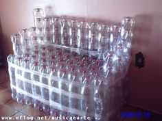 Sofa made from plastic bottles