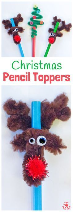 Christmas Pencil Toppers - DIY Christmas tree and reindeer pencil toppers are adorable, cheap to make and super quick too. A fun Christmas craft for kids. #christmascrafts #kidscrafts #penciltoppers #reindeercrafts #reindeer #rudolf #christmastree #christmasideas #christmasactivities #christmasforkids #kidscraftroom #creativekids via @KidsCraftRoom